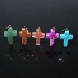도매 믹스 10 Pcs / lot Agat 크로스 십자가 모양 자연 석재 펜던트 패션 여성 보석 만들기위한 DIY 목걸이 맞추기