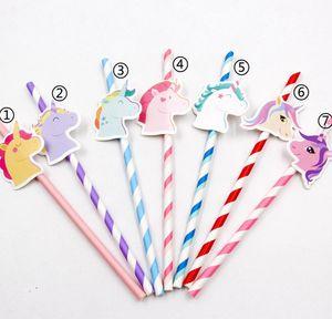 Yaratıcı Unicorn Kağıt Straw Sevimli Renkli Unicorn Payet İçme Parti Iyilik DIY Çocuklar Doğum Günü / Düğün / Parti Dekorasyon