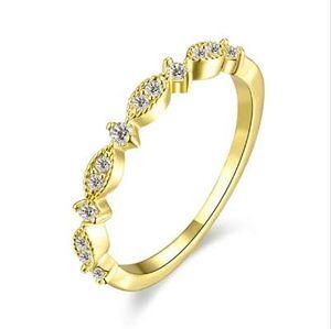 Modyle Rose Gold Color TOP Class Heart Rhinestones Eternity Alianza para mujer