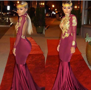 African Burgundy Long Sleeves Gold Lace Mermaid Prom Dresses Satin Applique Beaded High Neck Backless Sweep Train Prom Gowns Evening Dresses