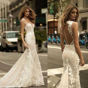 Vestidos de novia de la boda Berta malla transparente tapa del cordón de la sirena vestidos de novia de tul apliques de flores en 3D con los botones BA9306