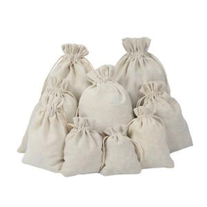 Lüks Takılar Keten İpli çanta torba 8x10cm 9x12cm 10x15cm Düğün Favor tutucu Pamuk Hediye Paketleme Çanta