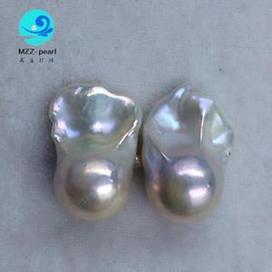 белый розовый фиолетовый l7x18mm культивированный пресноводный барочный огненный шар жемчужные бусины в парах для arge baroque pearl drop серьги
