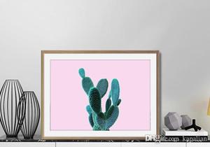 Piante Cactus Sfondo rosa Decorazione della parete Immagini Art Poster Stampe Home Decor Poster Tela Unframe 16 24 36 47 pollici