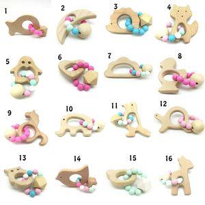 Baby Beißring Ringe Food Grade Buchenholz Beißring Beißringe Kauen Spielzeug Dusche spielen Chew Runde Holzperlen