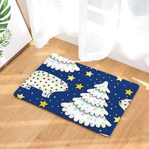 Novo Design Bath Mat Impresso Suede Tapete Natal Duche Casa de Banho Mat Cozinha Pavimento Mat 50x80cm WC Tapetes Decoração