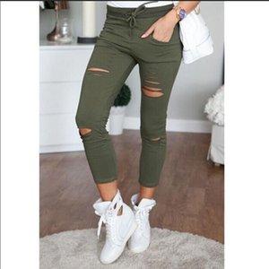 Jeans Skinny Mulheres Denim Calças Buracos Destruído Joelho Lápis Calças Casuais Calças Lavadas Preto Branco Trecho Rasgado Jeans Cor Sólida Fina