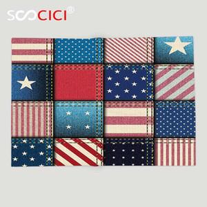 사용자 지정 부드러운 양 털 담요 농가 장식 가로 세로 스트라이프와 스타 양식 레드 미국 국기 패치 워크를 던져
