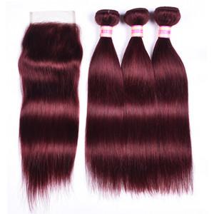 Бразильские прямые волосы девственницы с закрытием 99J красный цвет волос бордовый 9А необработанные человеческие волосы с закрытием пучки и закрытие