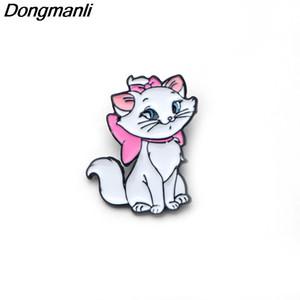 P2268 Dongmanli 20 unids / lote venta al por mayor Marie Aristocats Kids pins Maria Cat Broche de esmalte para las mujeres niñas insignia Accesorios de la joyería