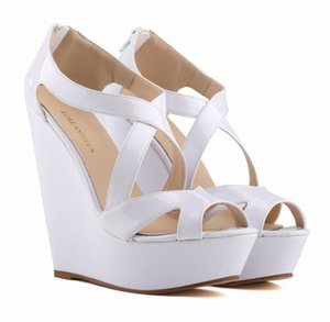 Cross Stap hollow out sandals Sapato Feminino New Elegant Ladies Platform Peep Toe High Heels Wedge Party Shoes Sandals Women Size Us A149