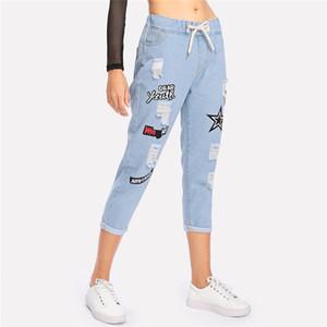 Poliéster Rasgado Cuffed Jeans Mulheres Azul Impressão Offset Com Cordão Meados Da Cintura Denim Calças Moda Casual Bolsos Jeans Recortada