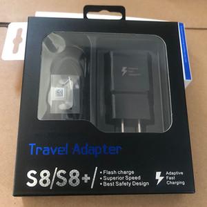 Originale 2 in 1 Con confezione 5V 2A US / EU / Plug Caricabatteria rapido da viaggio Adattatore rapido da parete + Cavo USB tipo C da 1,2 M per Samsung S8 s7 s9
