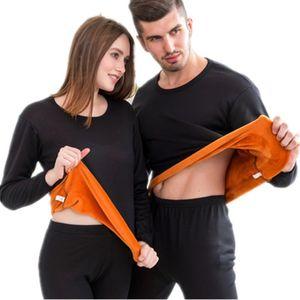 Biancheria intima termica di spessore di velluto invernale per gli uomini vestiti termici a strati pigiama thermos maschile lungo Johns seconda pelle termica femminile