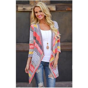 Automne Hiver Femmes Cardigan à Manches Longues Outwear Tricoté Veste Manteau Tops Pull Lâche Stripe Coton Vert Rouge Vêtements Pour Femmes