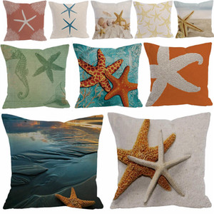 26 styles starfish pillowcase cotton and linen sea star pillow cover home sofa decor waist cushion cover DDA699