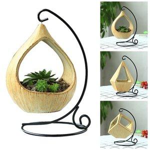 Stand en fer suspendu panier Microlandschaft géométrique en céramique plantes succulentes Pot de fleur Crochet en fer bureau Bracketplant Pot