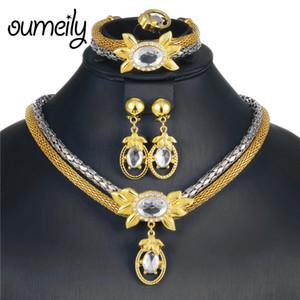 OUMEILY Bigiotteria egiziana Set di gioielli da sposa etiope Set di turchi color oro argento per gioielli da donna
