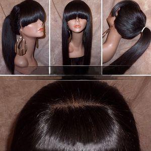 Parrucca anteriore serica del merletto con le parrucche piene del merletto dei capelli umani vergini brasiliani pieni della frangia piena di peli per colore naturale delle donne