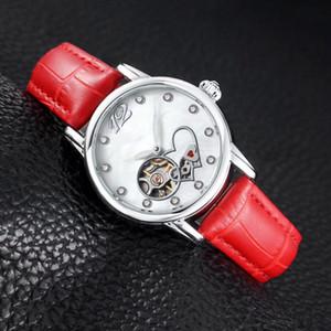 Volante de la moda las mujeres del vestido relojes amor del corazón del Rhinestone del dial femenino mecánico automático de muñeca para dama que más regalo de San Valentín