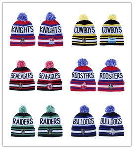 I più recenti NRL Rugby Squadre STORM North Queensland Broncos Winter Cronulla Sharks Beanie Hats Knitted Roosters Pom Berretti invernali Warm Caps