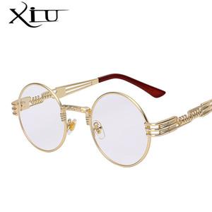 Wholesale-Gothic Steampunk Sunglasses Hombres Mujeres Metal Envoltura Anteojos Redondos Diseñador de la marca Gafas de sol Espejo de alta calidad UV400