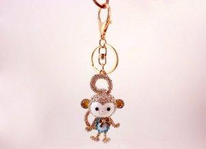 جميل طويل الذيل قرد مفتاح سلسلة الصينية زودياك قرد الماس مرصع حلقة رئيسية حقيبة السيارات الإبداعية قلادة