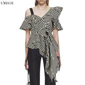 LXUNYI Summer Shirt Women 2018 Fashion Sexy Off Shoulder Blouse Ladies Ruffle Tops Camis Irregular Striped Shirts High Quality