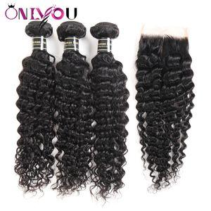 Big Promotion Deep Wave Weave Bundles avec fermeture brésilienne Deep Curly Virgin cheveux et fermeture à lacet Extensions de cheveux humides et ondulés