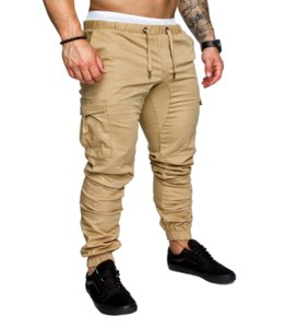 HaiFux 2018 Marca Joggers sólido ocasional color de los pantalones de los hombres pantalones de algodón elástico pantalones estilo militar del ejército de Carga para hombre polainas 4XL