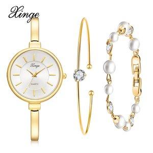 wholesale Brand Ladies Watches Gold Trend Wristwatch Waterproof Watches Set Stainess Steel Retro Watch Bracelet Set Three-piece Suit