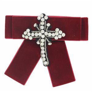 2018 handmade corsage rhinstone beads cruz bowknot Broches Retro Pin Broches Bow Broche Acessórios de Vestuário Das Mulheres Faculdade Arte Pano