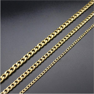 Großhandels3MM 5MM 7MM 316L Edelstahl-Gold überzogene Kettenhalskette Länge 50 55 60CM Art- und Weisekühle Männer Zusätze Schmucksachen