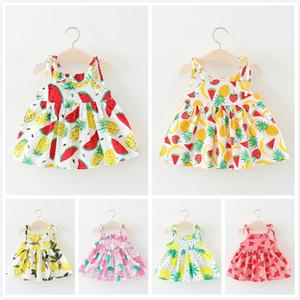 Ins Hot Summer Baby Girls Abiti per bambini stampato Sling Dress Girls Kids Beach Multi Fruits Soid Color Lemon Peach Sling Dress