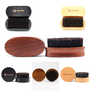 Natural Bristle Beard Brush Wood Circular Black Sandalwood Shaving Neutral Men's Face-Care Beard-Care Personalized Customization logo