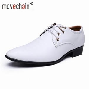 Movechain Yeni Moda erkek Beyaz Düğün Parti Deri Ayakkabı Adam Rahat Oxfords Erkek Dantel-Up Elbise Iş Ofis Flats
