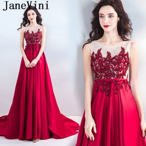 wholesale 2018 Red Satin A Line Mother of The Bride Dresses 3D Flowers Beaded Sheer Back Sweep Train Women's Formal Evening Gowns