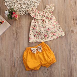 Estate Abbigliamento neonato Set Princess Floral Tank Top + bow-knot Pantaloncini Pantaloni 2PCS Vestiti per la ragazza Baby Outfits Toddler Kids