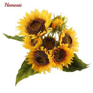 Novo Design 1 bouquet de seda amarelo Sunflower de flores decorativas 7 filiais cinco tamanho casa acessórios de decoração planta artificial deixa P20