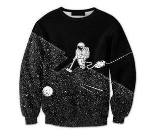 Мужчины 3D фуфайки Space пылесос Robot 3D Печать Мода Перемычки Пуловеры Streetwear Tracksuit Tops Tops Толстовка качества