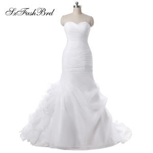 Yeni Geldi Sevgiliye Fırfır Mermaid Uzun Organze Düğün Gelin Elbiseler Kadın Gelinlik