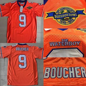 Uomo The Waterboy Movie Adam Sandler 9 Bobby Boucher Stitched Dogs Dogs Jerseys Film arancione Bianco Bella Quanlity Taglia S-3XL