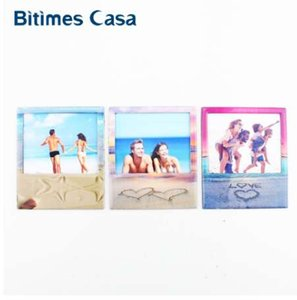 Bitimes Love Beach 3PCS Set Photo Frame Pictures Refrigerator Fridge Magnets Sticker Anniversary Home Decoration Gifts