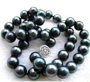 NATURAL TAHITIAN 9-10mm BLACK PEARL NECKLACE 20 INCHES 925 SILVER CLASP