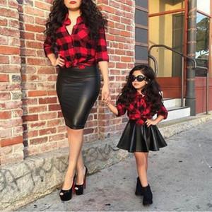 2 ADET Çocuk Kız Setleri Giysi Prenses Ekose Tops Gömlek + Deri Etek Yaz Kıyafetler Çocuk Kız Giysileri 1-6Y
