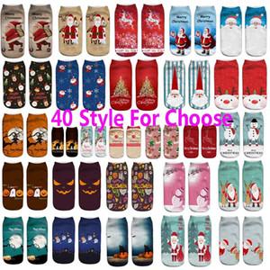 3D Printed Socken Für Weihnachten Halloween Weihnachtsmann Rentier Kürbis Unisex Kurze Bootssocken Weihnachtsschmuck Fuß Abdeckung Socke WX9-900