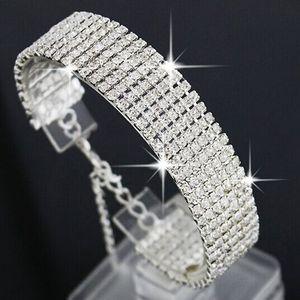 Braccialetto di cristallo di strass di lusso a più strati per le donne Braccialetto di nozze Braccialetto Gioielli di nozze d'oro d'oro Regali per feste