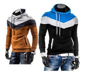 Patchwork Design Algodão Mens Pullover Hoodies Hommes Magro Ocasional Contraste Cor Camisolas Mens Roupas Com Capuz Hoodies