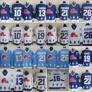 كيبيك Nordiques Jersey 10 Guy Lafleur 13 Mats Sundin 16 Michel Goulet 19 Joe Sakic 21 Peter Forsberg 26 Peter Stastny Jersey
