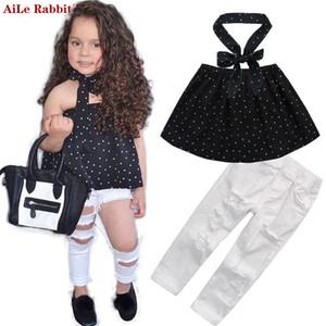 AiLe Rabbit Summer Kids Fashion Filles Vêtements Sets 3 pcs Black Blouse Top trou Casual JeansCollar bande vêtements k1 Y1892906